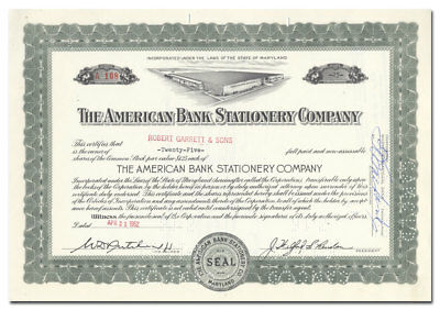 American Bank Stationery Company Stock Certificate