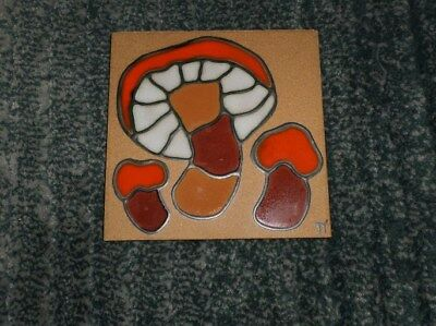 Vintage Hand Crafted Mushrooms Designs In Glaze Tile Art/Trivet By Jane Tallman