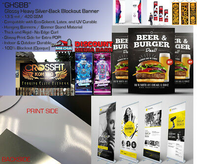 """Solvent Gloss Heavy Silver-Back Blockout Banner- 24""""x100' -Solvent/Latex/UV"""