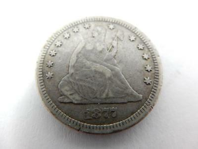 1877-CC Seated Liberty Quarter Dollar, Carson City US, 90% Silver,  #F35