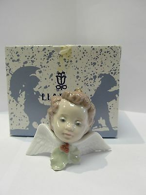 new box mint vintage porcelain Lladro Seraph with Holly Ornament 06394 rare