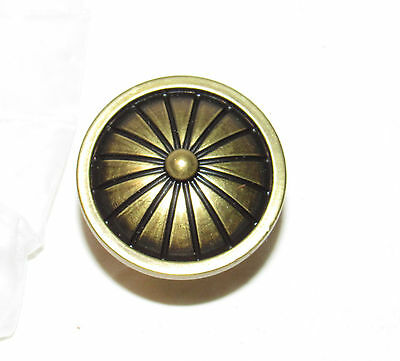 lot of 4 Antiqued Brass Domed Wedged Drawer Cabinet Knobs Handles NOS