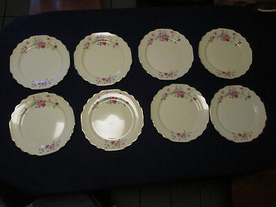 "Vintage W S George Lido Canarytone Pink Flowers Lot of 8 Dinner Plates 9.5"" D"