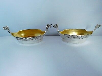 Stunning Pair Of Vintage / Antique Solid Silver Viking Boat Salts