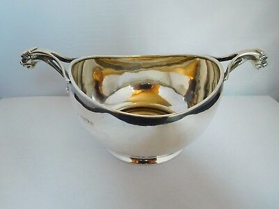Superb Antique Solid Sterling Silver Mythical 2 Handled Bowl / Quaish