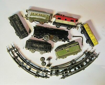 Vintage MARX Wind-Up Tin Trains (7) and Tracks, Army