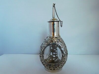 Stunning Antique / Vintage Chinese Export Silver Overlaid Oil / Incense Bottle