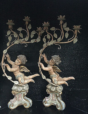 Antique/vintage Large Tall Wooden Heavy Cherub/angel Pair Of Ornate Lamp Bases