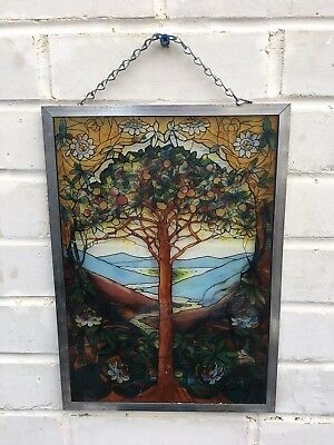 Tiffany TREE OF LIFE Mosaic Stained Glass Window Panel Signed Sun Catcher
