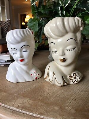 Two Lady Head Vases Glamor Girl And Napco, 3M2544