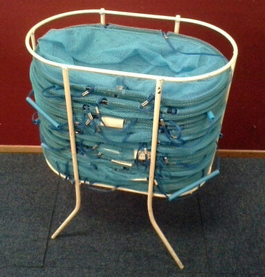 Net Shopping Baskets - Oval, Collapsible, Blue with Stacker Stand