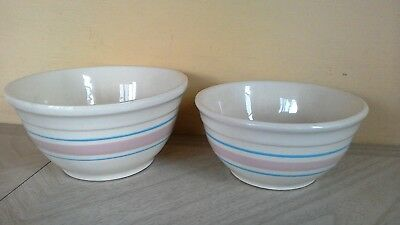 """Vintage MCCOY POTTERY set of TWO! Mixing Bowls #7 & 8~Pink Blue Stripe 7"""" & 8"""""""