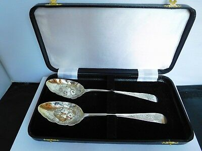 Scarce Pair Of Late 18Th Century Large Scottish Solid Silver Berry Spoons - 1792