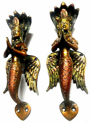 Mermaid Snake Goddess Shape Antique Vintage Style Handcrafted Brass Door Handle