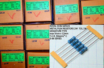 Kit 250 Resistenze a scelta 2W 1% da 10 Ohm a 1 Mohm strato metallico ROYAL OHM