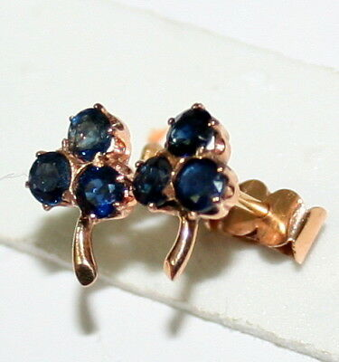 Antique Victorian French 18K Gold Sapphire Clover Small Lucky Stud Earrings 1880
