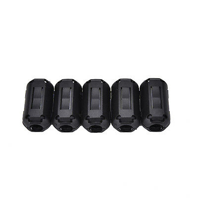 5X 3.5mm Noise Suppressor EMI RFI Clip Choke Ferrite Core Cable Filter BlackRtsG