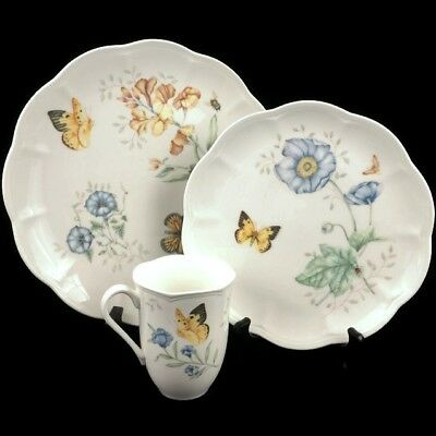 NEW Lenox China Butterfly Meadow Monarch 1 Dinner Plate 1 Luncheon Plate 1 Mug