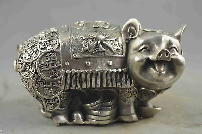 Collectable Handwork Old Miao Silver Carve Zodiac Wealthy Pig Auspicious Statue