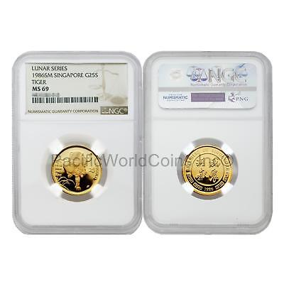 Singapore 1986 Year of the Tiger 25 Singold 1/4 oz Gold NGC MS69 SKU#5679