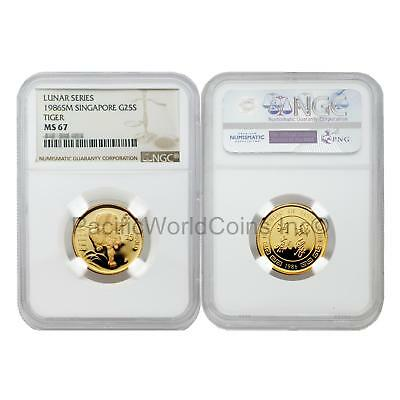 Singapore 1986 Year of the Tiger 25 Singold 1/4 oz Gold NGC MS67 SKU#5678