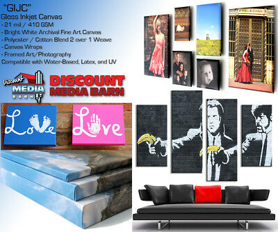 "Gloss Inkjet Fine Art Canvas - 24""x45' -21mil- Water-Based/Latex/UV"