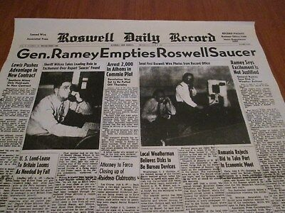 Rare Front Page(Only) Of Ufo  Alien Flying Saucer Landing In Roswell Of 1947