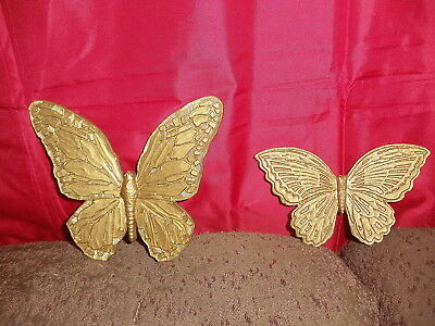 Home Interiors Butterfly Wall Plaque Set of 2 Homco Syroco Gold 704C T7041 Decor