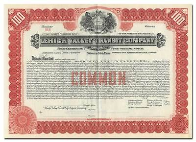 Lehigh Valley Transit Company Stock Certificate