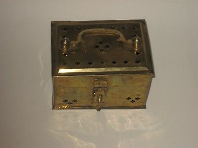 Vintage Decorative Pierced Solid Brass Cricket Cage Trinket  Box