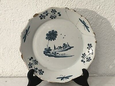 ancienne Assiette En faience Nevers XVIIIE ANTIQUE FRENCH PLATE 18TH