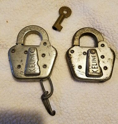 Lot of 2 VINTAGE KELINE PADLOCKS w/ BRASS HOLLOW BARREL KEY Marked Adlake Style