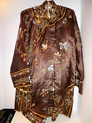 Authentic Oriental Kimono Hand Embroidered Golden Cloud Large Never Worn