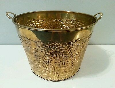 Vintage BRASS PLANTER FIREPLACE BUCKET FOR WOOD, KINDLIN, COAL,PLANTS ETC.