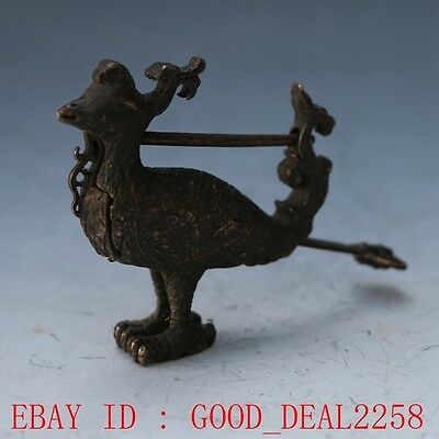 Rare collectibles Chinese old style Brass Carved Chicken lock with key