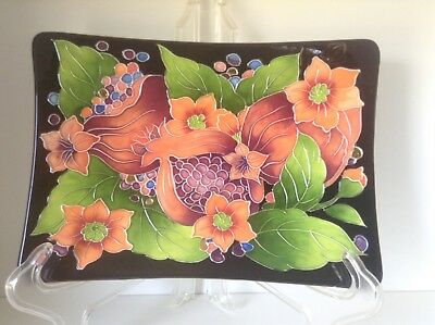 Jeanette McCall Icing On The Cake Blue Sky Ceramic Flower Pomegranate Plate Tray