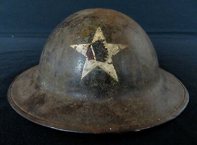 ORIGINAL WWI 2nd / SECOND INDIAN HEAD DIVISION INSIGNIA PAINTED HELMET W/ LINER