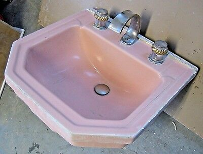 PINK! 1930's Mid Century Modern Sink with faucets - Porcelain recessed art deco