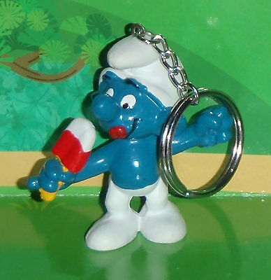 Vintage Keychain Ice Jolly Smurf Eating An Ice Cream 1980 Smurf Lot