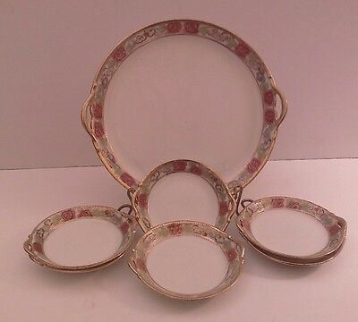 Vintage NIPPON Hand Painted Serving Dish, 6 Side Dishes with Beaded Moriage Gilt