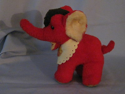 Vintage Steiff Diggi The Red Elephant  Made In Germany  Including Apron And Tag