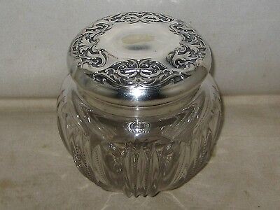 Vintage German Silver And Cut Crystal Vanity Powder Dresser Jar