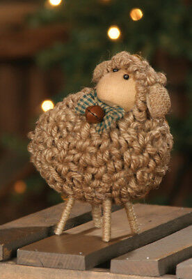 Primitive Country SHEEP WOOLY JUTE Figurine Farmhouse Shelf Sitter Rusty Bell