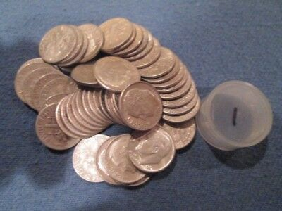 Roosevelt silver dime roll 50 coins 1946 -1964 (1)