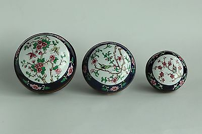 Vintage Chinese Set of 3 Canton Enamel Covered Boxes