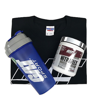 GAT Nitraflex 30 Servings Pre-Workout with T-Shirt and a Shaker - Pick Flavors