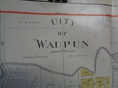 Antique City Of Waupun, WI Fond du Lac County Plat Map Page Atlas Dated 1910