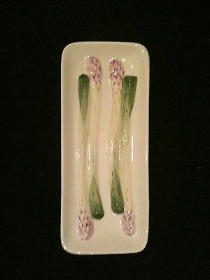 Vtg Asparagus Serving Dish Made in Portugal by Olfaire Sage Green & Rose VGUC