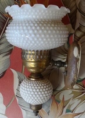 Vintage Solid Brass Electric Wall Sconce Lamp!  Hobnail Milk Glass Light