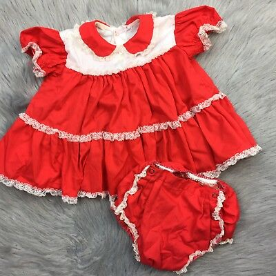 Vintage 1950s Baby Girls Bryan Red White Lace Ruffle Top Bloomers Valentines Set